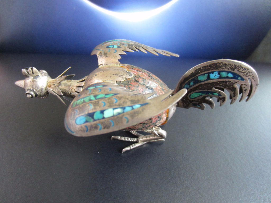 Taxco Mexico Silver Rooster Stone Egg Turquoise With Hallmarks TE-15 - Designer Unique Finds
