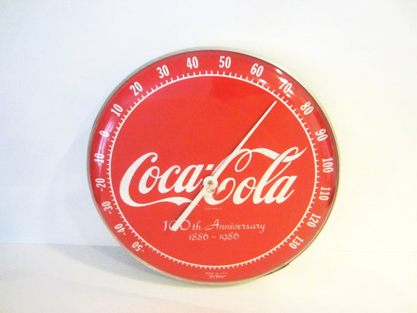 Coca Cola Tin Thermometer Commemorative Centennial Anniversary - Designer Unique Finds