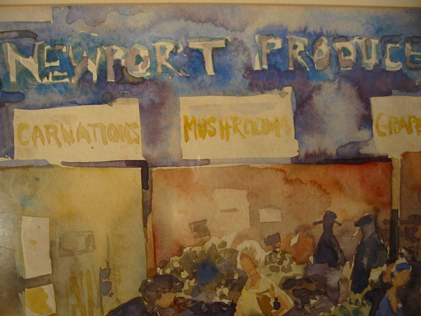 Aline Thistlewthwaite Newport Produce Village Market Signed Watercolor - Designer Unique Finds   - 7