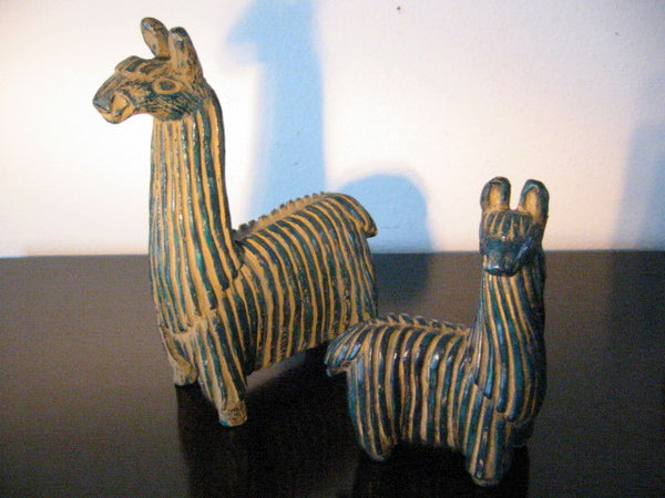 Llamas Ceramic Peruvian Blue Green Figurines - Designer Unique Finds   - 2