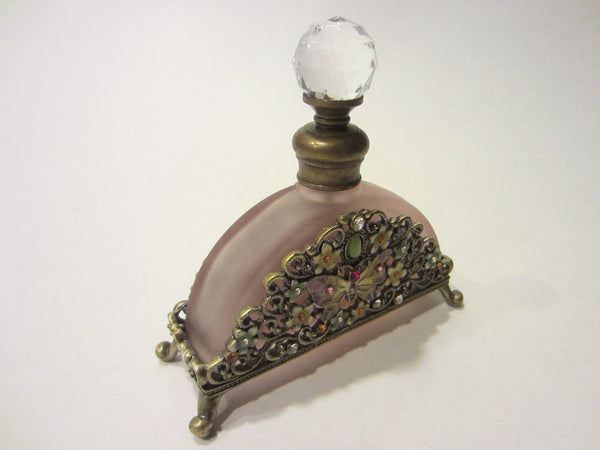 Lavender Glass Perfume Bottle Footed Jeweled Enameled Butterfly Flowers