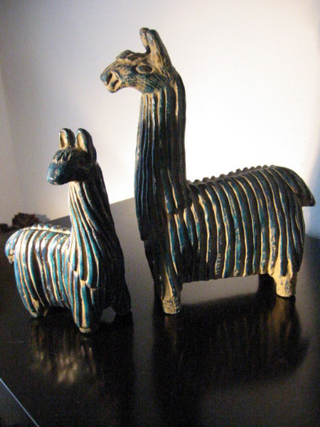 Blue Llamas Hand Painted Decorated Peruvian Statues