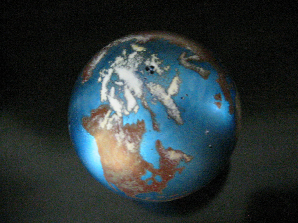 Lundberg Studio Globe Iridescent Glass Signed Paperweight - Designer Unique Finds