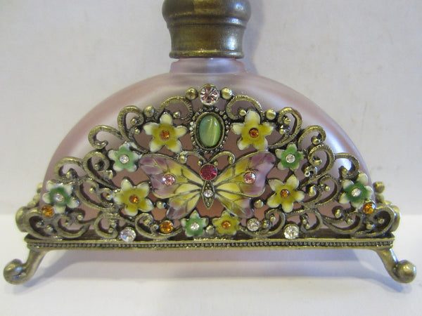 Lavender Glass Perfume Bottle Footed Jeweled Enameled Butterfly Flowers - Designer Unique Finds