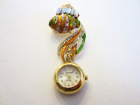Bonetto Gold Fish Watch Brooch Enameled Swarovsky Crystal Gems