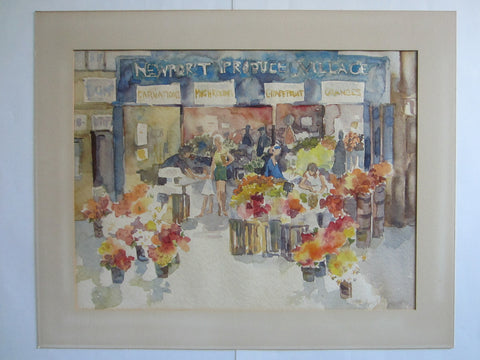 Aline Thistlewthwaite Newport Produce Village Market Signed Watercolor