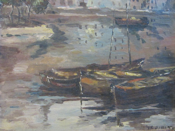 Fine Art European Harbor Boats Shore Marine Oil on Canvas Signed TKGIBET