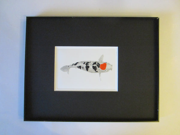 Silver Fish Lithograph In Contemporary Frame Pencil Signed Graphic Art - Designer Unique Finds