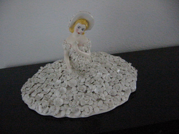 Italy Fiori Bianco Ardalt Feminine Figurine Decorated Majolica White Flowers - Designer Unique Finds
