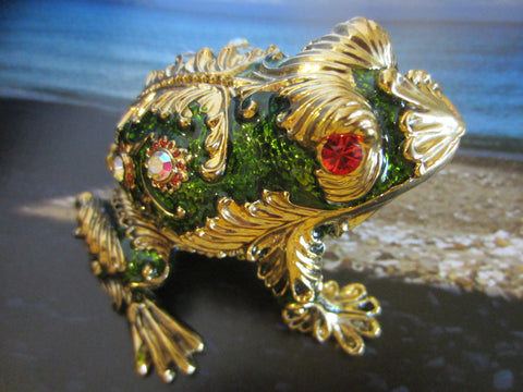 Be Dazzle Brass Green Enamel Frog Box Decorated Crystals - Designer Unique Finds