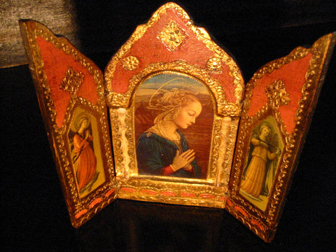 Tole Triptych Mary Portrait Florentine Wood Retablo Tea Screen - Designer Unique Finds