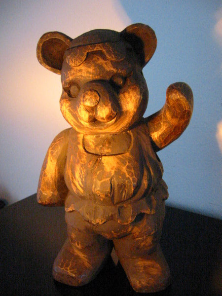 Folk Art Modernist Wood Carving Ballerina Teddy Bear Sculpture - Designer Unique Finds   - 1