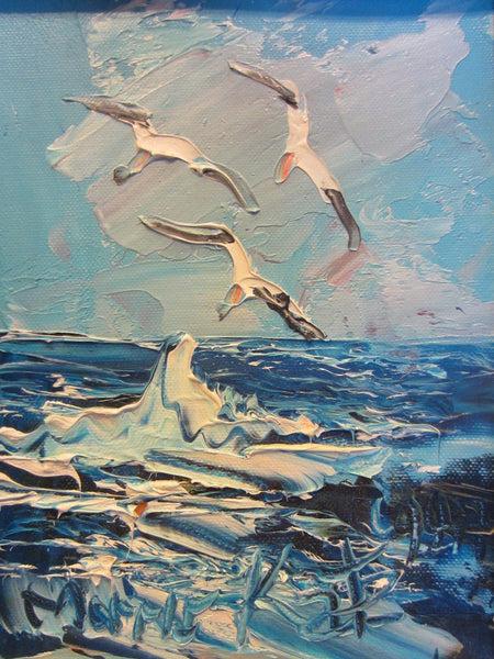 Morris Katz Seascape Seagulls Oceanic Palette Signature Oil On Board