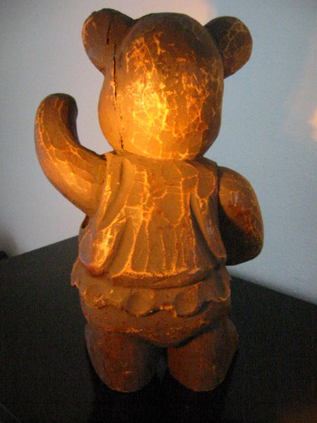 Folk Art Modernist Hand Carved Ballerina Teddy Bear Sculpture - Designer Unique Finds