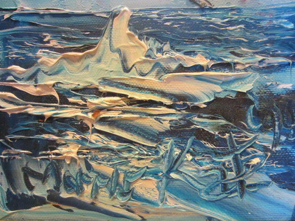 Morris Katz Seascape Seagulls Oceanic Palette Oil On Board - Designer Unique Finds