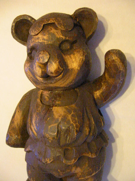 Folk Art Modernist Wood Carving Ballerina Teddy Bear Sculpture - Designer Unique Finds   - 9