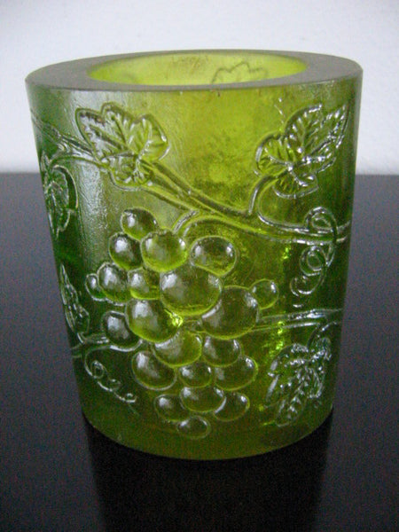Transluscent Green Resin Art Deco Vase Majolica Cluster Grapes Signed In Etch - Designer Unique Finds   - 2