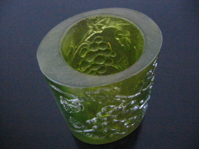 Transluscent Green Resin Art Deco Vase Majolica Cluster Grapes Signed In Etch - Designer Unique Finds   - 1