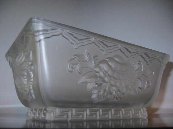 Verlys Crystal Bowl Frost Chrysanthemum Signed by French Artist - Designer Unique Finds