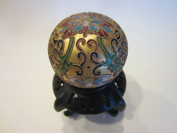 Oriental Cloisonne Vermeil Golden Paperweight Lotus Flowers - Designer Unique Finds