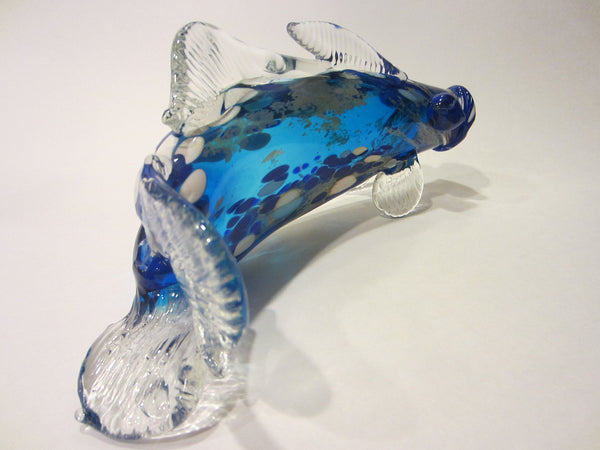 Behrotock Iridescent Mouth Blown Blue Glass Fish Sculpture Signed Dated - Designer Unique Finds