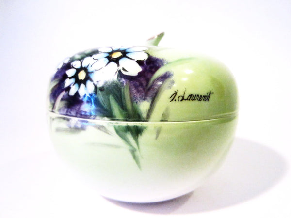 Fine China Green Apple Box Hand Painted Floral Artist Singed Original Arnartcreation - Designer Unique Finds