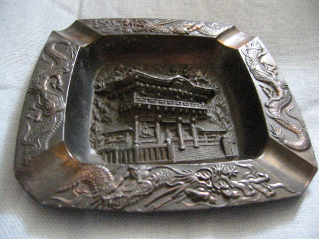 Occupied Japan Metal Ashtray Dragon Decoration Asian Monument - Designer Unique Finds
