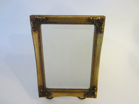 A Small Beveled Mirror Gilt Decorated Marked Burnes Floral Ornate