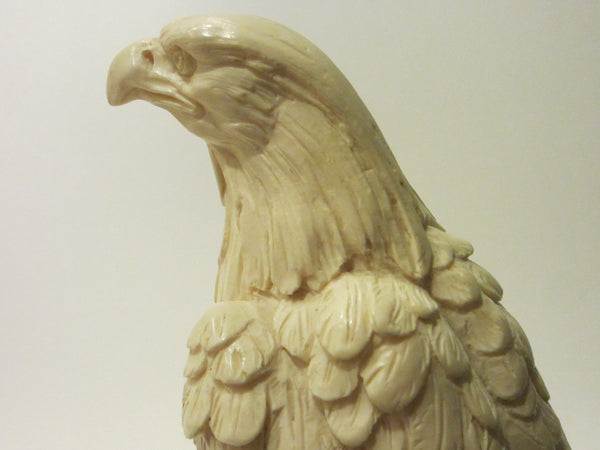 A Santini Italy White Eagle Signed Sculpture Stone Stand - Designer Unique Finds