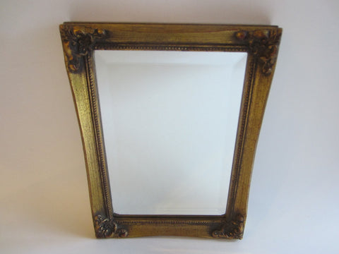 Burnes Beveled Mirror Gilt Wood Ornate Vertical Horizontal Frame - Designer Unique Finds