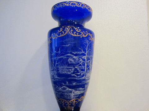 Snow Painted Cobalt Blue Glass Vase Gold Scrolled Relief Oriental Scene - Designer Unique Finds