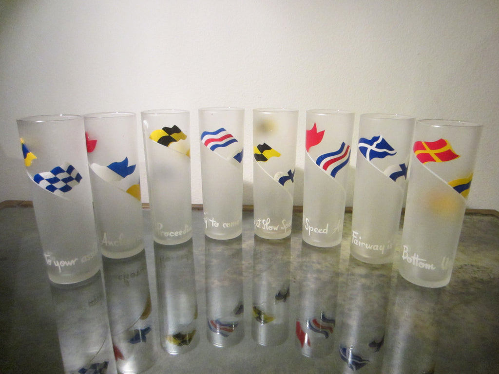 Drinking Glass Tumblers Set of Eight Scripted International Symbols Frost Design - Designer Unique Finds