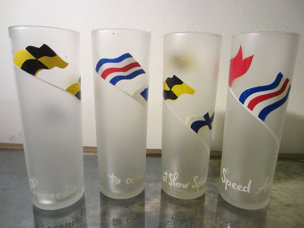 Drinking Frost Glass Tumblers Scripted International Symbols Set of Eight