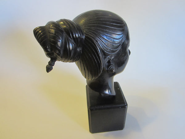 Thanh Le NGuyen A Bronze Head of A Young Vietnamese Women Signed By Artist