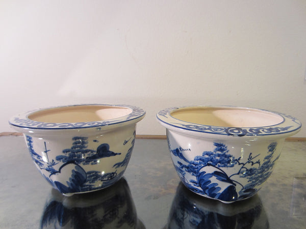 Blue White Transfer Ceramic Bowls Planters Asian Inspires - Designer Unique Finds   - 1