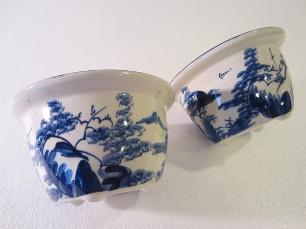 Blue White Transfer Ceramic Bowls Planters Asian Inspires - Designer Unique Finds   - 7