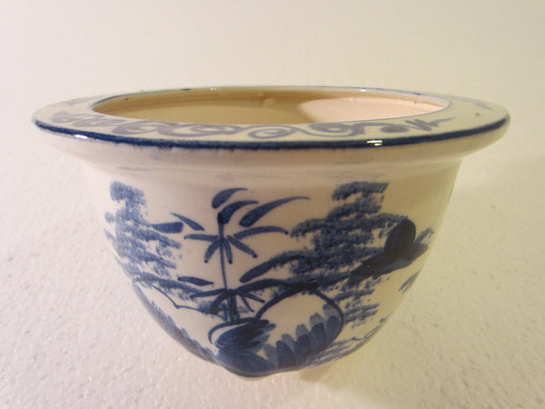 Blue White Transfer Ceramic Bowls Planters Asian Inspires - Designer Unique Finds   - 5