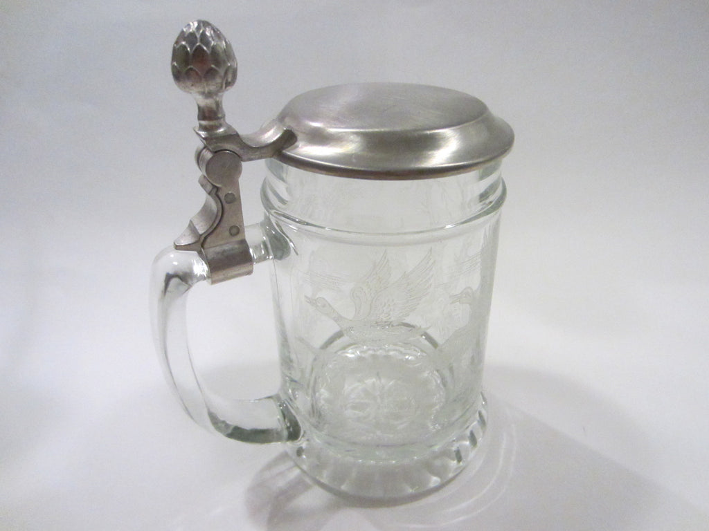 West Germany Contemporary Glass Tankard BMF Zinn Hinged Cover