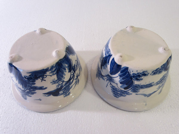 Blue White Transfer Ceramic Bowls Planters Asian Inspires - Designer Unique Finds   - 4
