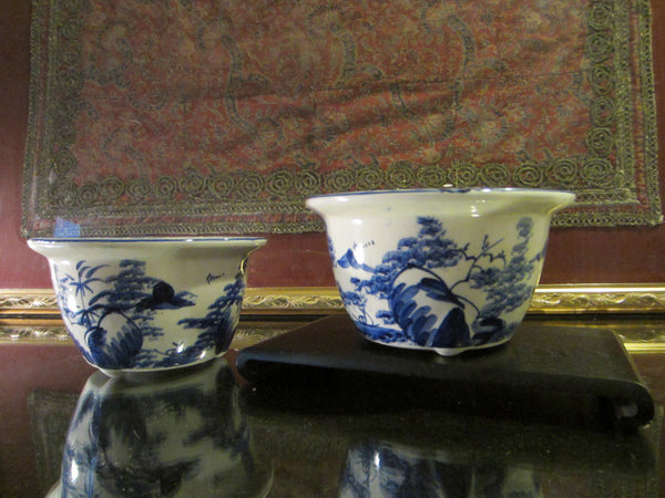 Blue White Transfer Ceramic Bowls Planters Asian Inspires - Designer Unique Finds   - 3