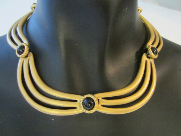 Monet Collar Necklace Gold Tone Black Onyx Cabochons - Designer Unique Finds