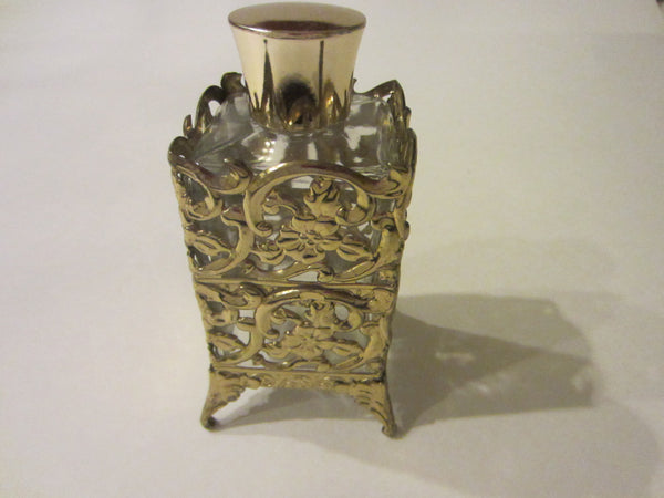 Brass Overlay Footed Filigree Glass Perfume Bottle Floral Decoration