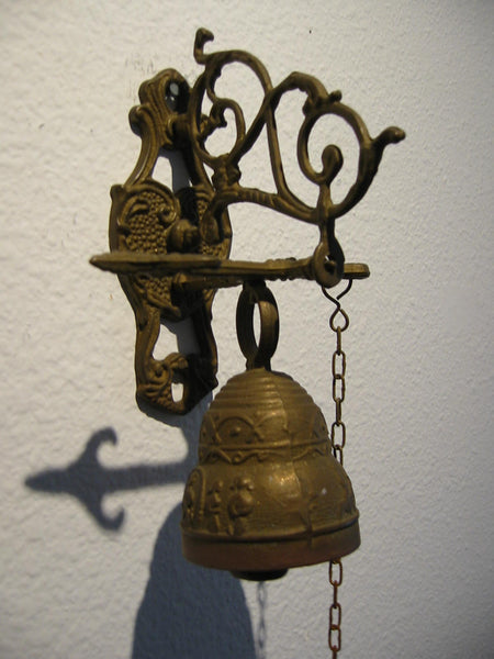 Brass Pool Chain Monastery Bell Ormolu High Relief - Designer Unique Finds   - 2