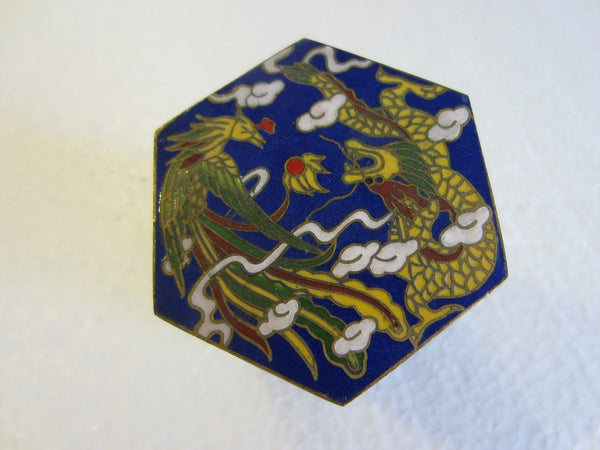 Asian Miniature Cloisonne Hexagonal Box Decorated Yellow Phoenix Dragons - Designer Unique Finds   - 3