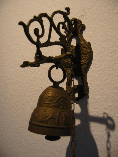 Brass Pool Chain Monastery Bell Ormolu High Relief - Designer Unique Finds   - 5