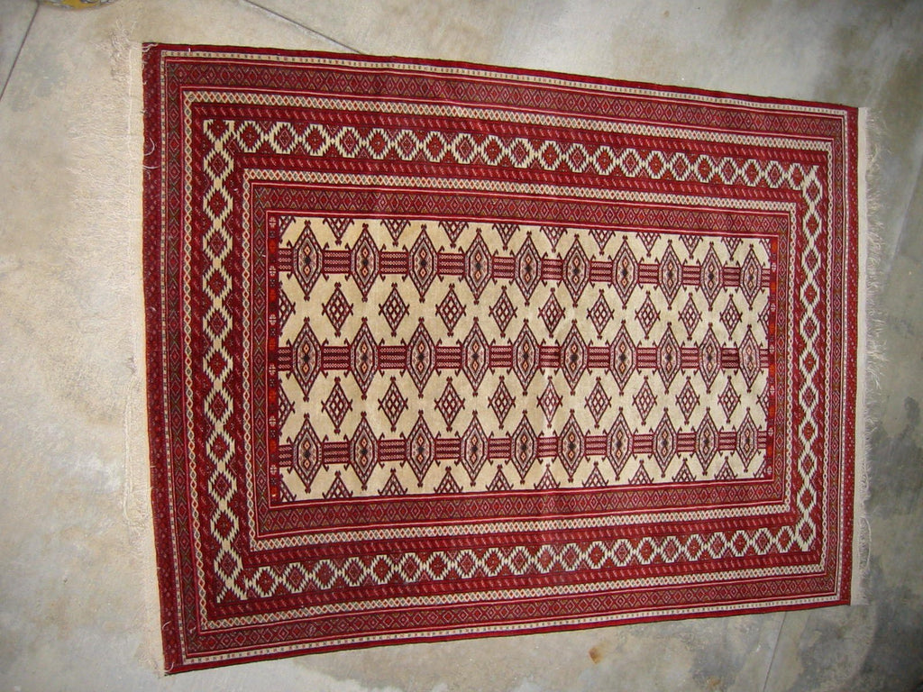 Caucasian Torkaman Wool Hexagonal Geometric Rug - Designer Unique Finds   - 1