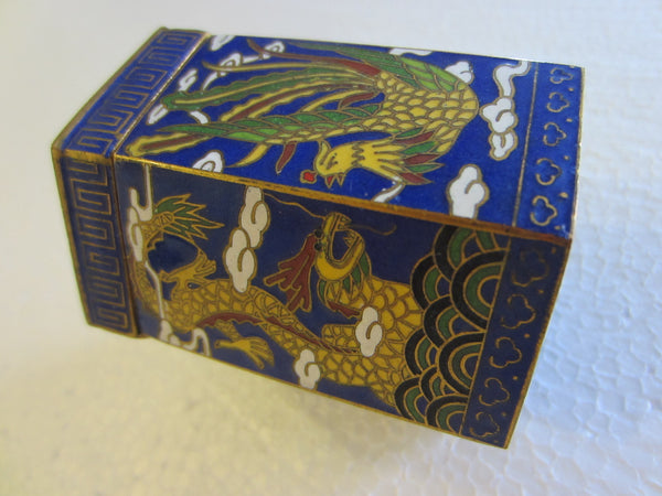 Asian Miniature Cloisonne Hexagonal Box Decorated Yellow Phoenix Dragons - Designer Unique Finds   - 2
