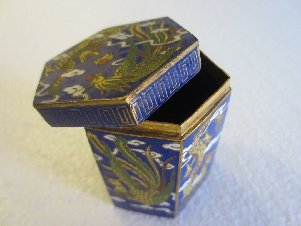 Asian Miniature Cloisonne Hexagonal Box Decorated Yellow Phoenix Dragons - Designer Unique Finds   - 1
