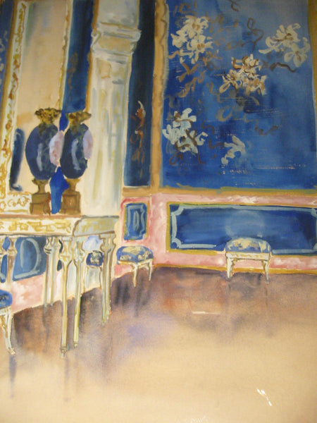 Louis Comtic Signed Watercolor Titled Palazzo Reale Milan - Designer Unique Finds