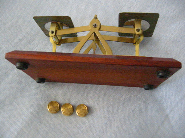 English Mahogany Brass Postal Scale Advertising For New York City PDC - Designer Unique Finds